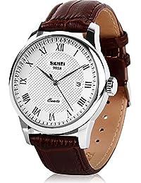 Men's Luxury Brown Genuine Leather Analogue Quartz Wrist Watch Mens Dress Business Classic Fashion Casual Watches Roman Numeral Date Calendar 30M Waterproof Simple Design Wristwatch