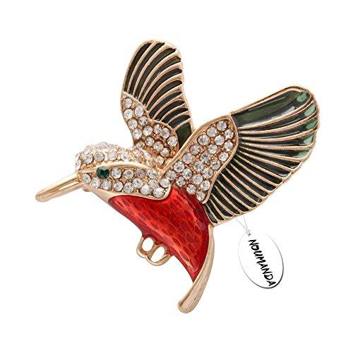 Noumanda colibrì spilla cristallo smaltato oro smeraldo Bird Broaches gioielli per uccelli Lover, base metal, colore: Gold/Green/Red, cod.