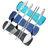 3 Set Posate da Campeggio,CKANDAY 12 Pezzi Viaggio Coltello Forchetta Cucchiaio Bastoncini Vasellame Argenteria per Campeggio Escursionismo Picnic,Acciaio Inossidabile,Nero/Blu/Azzurro