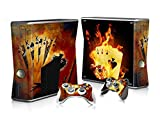 XBOX 360 Slim Skin Design Foils Aufkleber Schutzfolie Set - Burning Cards Motiv