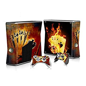 XBOX 360 Slim Skin Design Foils Aufkleber Schutzfolie Set – Burning Cards Motiv