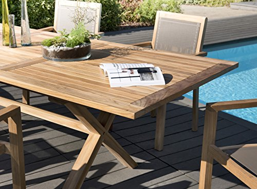 MACABANE 509609 Salon de Jardin Couleur Naturel/Taupeen Teck et Textilène Dimension