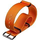 Bracelet de montre militaire G10 NATO en nylon par ZULUDIVER, Boucles IP PVD Noir, Orange, 20mm