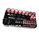 ELEGIANT 72 Batterie Tester Halterung Case Holder Storage Box Battery Caddy Storage Plastic Holder Slot Rack Organizer Removable Tester Für AAA AA A C 9-Volt Knopfzellen