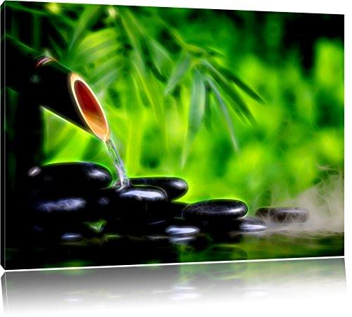 erfrischende Wasserquelle mit Steinen Format: 120x80 auf Leinwand, XXL riesige Bilder fertig gerahmt mit Keilrahmen, Kunstdruck auf Wandbild mit Rahmen, günstiger als Gemälde oder Ölbild, kein Poster oder Plakat -