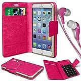 N4U Online® - Parla Gala PU-Leder Saugnapf Mappen-Kasten-Abdeckung und 3,5-mm-Ohrhörer Stereo-Ohrhörer - Pink
