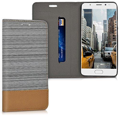 kwmobile Wiko U Feel Prime Hülle - Stoff Handy Cover Case mit Ständer - Schutzhülle für Wiko U Feel Prime