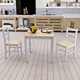 MissSnower Dining Table and 2 Chairs Set Solid Pine Wood Furniture for Kitchen Home Cafe Apartment Students HMOs, Grey