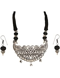 Tandra's Fashion Oxidised Or German Silver Black Peacock Necklace Set For Women And Girls