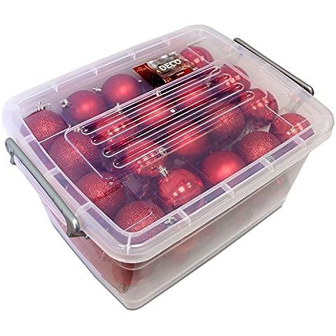 70 pcs de bolas de Navidad con caja de almacenamiento de colour rojo con estampado de multistore 2002/5/6 cm juego de bolas para el árbol de Navidad con forma de árbol de Navidad de juego de bolas de plástico para árbol de Navidad bolas de árbol de