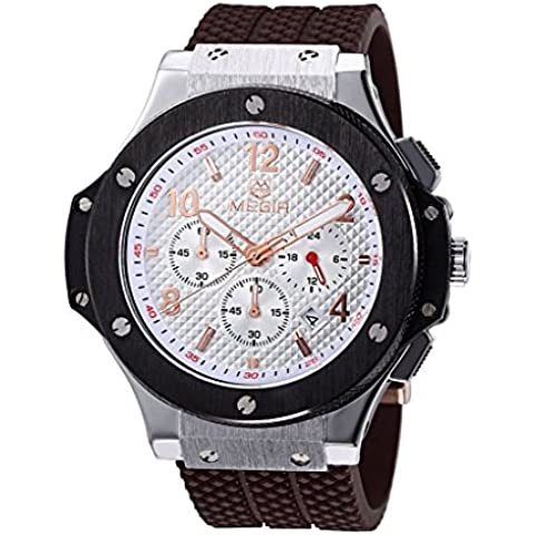 downj Cronografo Bianco Quadrante Oro Rosa numero Display analogico al quarzo orologio sportivo da