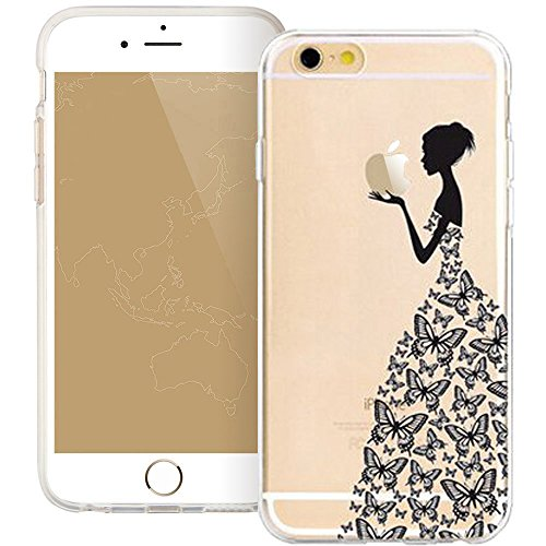 iPhone SE Case, iPhone 5S 5 Silicone Cover, UCMDA Soft Transparent Clear Slim Bumper Case, Shock-Absorption Cover with Anti-Scratch Back - Cute Panda Butterfly Dress