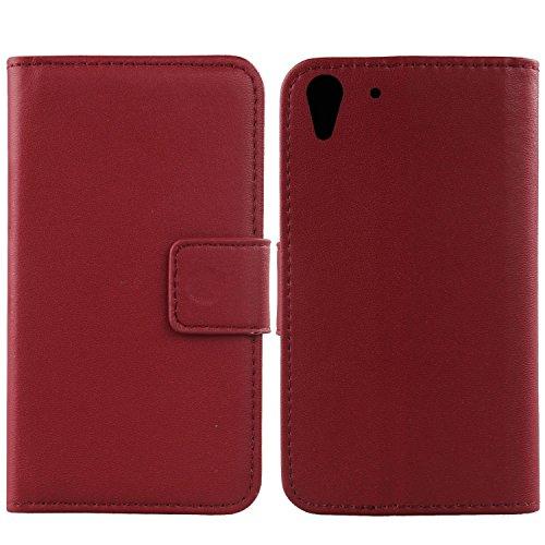 Gukas Design Echt Leder Tasche Für HTC Desire Eye Hülle Handy Flip Brieftasche mit Kartenfächer Schutz Protektiv Genuine Premium Case Cover Etui Skin Shell (Dark Rot)
