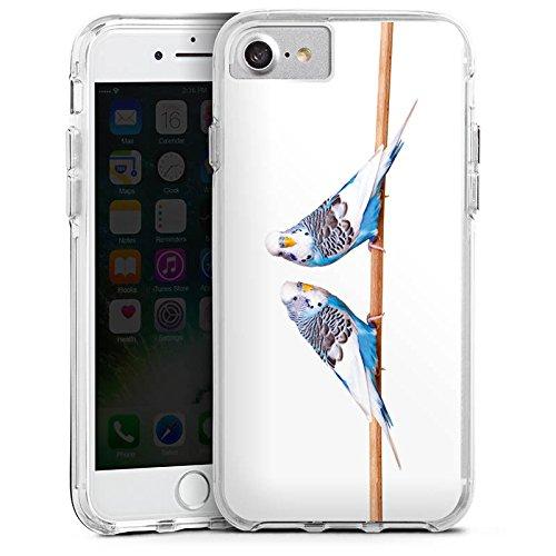 Apple iPhone X Bumper Hülle Bumper Case Glitzer Hülle Vogel Bird Sittich Bumper Case transparent