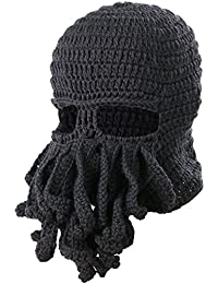 TRIXES Black Knitted Unisex Cthulhu One Size Ski Mask Warm Beanie Octopus Effect with Tentacles Stylish Head Gear