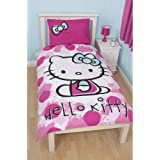 Childrens Girls Hello Kitty Fawn Single Duvet Cover Bedding Set (Single Bed) (Pink/White)