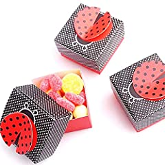 Idea Regalo - JZK 50 Coccinella nero rosso scatola portaconfetti scatolina bomboniera segnaposto per matrimonio compleanno battesimo nascita laurea Natale