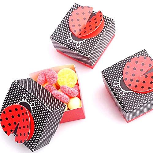 JZK 50 Coccinella nero rosso scatola portaconfetti scatolina bomboniera segnaposto per matrimonio compleanno battesimo nascita laurea Natale