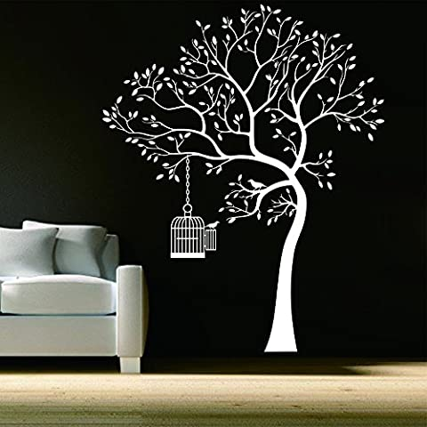 Gran árbol y jaula pared pared pegatinas sala fondo vinilo decorativo Mural Color blanco