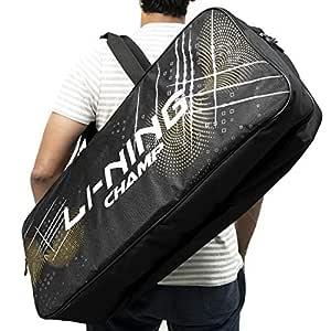 Li-Ning ABDP-374 Champ 6 in 1 Badminton Kitbag - with Additional Shoe Bag - Black