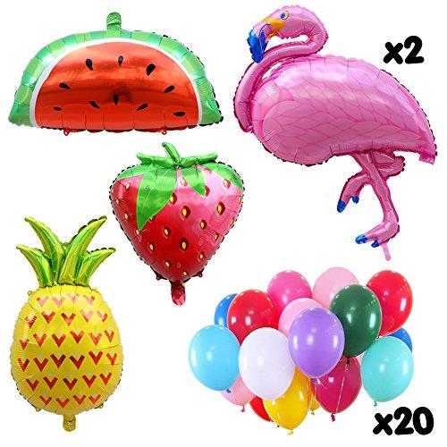 (Aytai Flamingo Ananas große Folie Ballons Hawaiian Party Supplies mit Erdbeere, Wassermelone Ballon und 20pcs Latex Ballons für Baby Shower Birthday Party Dekorationen)