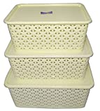 #2: Fair Food Basket With Lid (Set Of 3) (Small, Medium & Big) - Ivory