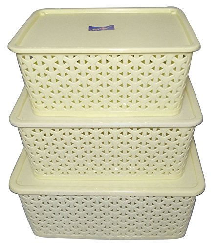 Fair Food 3 Piece Plastic Basket with Lid, Ivory