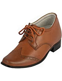 Peppy Shoes Formal Height Increasing Classic Tan Brogue Shoes
