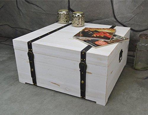 Livitat® Couchtisch Truhentisch Holz NEU Truhe Kiste Landhaus Weiß Used Shabby LV2061 (60, 60)
