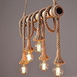 Lámpara de techo 5focos cuerda de cáñamo y Bambú