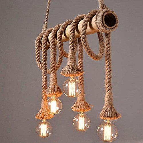 Kronleuchter Retro Hemp Seil Hängeleuchte Industrielle Pendelleuchte Leuchte Vintage 5 Flammig Edison Light Hanfseil und Bamboo Pendelleuchten Küchenleuchte Esstisch fur Wohnzimmer Esszimmer bar (Leuchtmittel nicht enthalten)