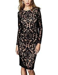 Next Illusion Mesh Knee-Length Bodycon Dress, Black & Nude, UK Size 18