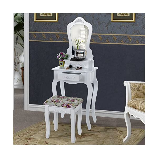 online retailer bae72 d76b0 SONGMICS Compact Dressing Table Set with Stool and Mirror Makeup Desk 3  Drawers Vanity Furniture Easy to assemble adult size for tiny room White ...