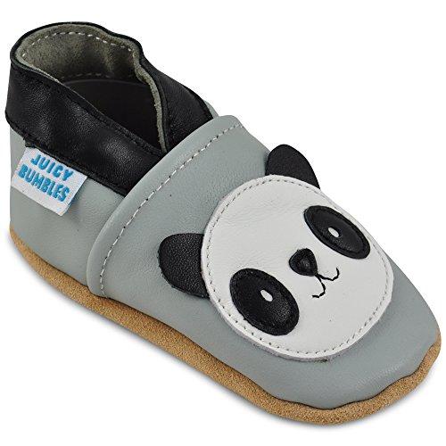 Juicy Bumbles - Weicher Leder Lauflernschuhe Krabbelschuhe Babyhausschuhe mit Wildledersohlen. Junge Mädchen Kleinkind- Gr. 12-18 Monate (Größe 22/23)- Panda (Petite Panda)