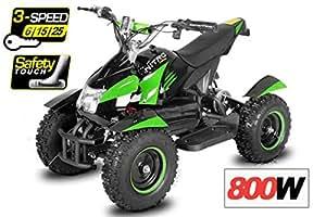 Mini Quad électrique 800W ANACONDA ATV pour Enfant 6 Pouces + Vitesse arrière + 3-Speed - Vert, sans Montage
