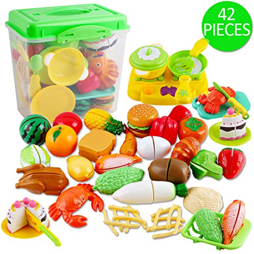 deAO Gioco di Cibo, Frutta e Verdura da Tagliare Gioco d'Imitazione per Bambini Set Accessori da Cucina Giocattolo attività Educativa 42 Pezzi e Scatola di Immagazzinaggio
