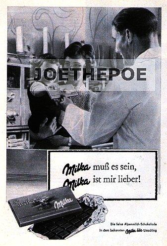 1960 - Inserat / Anzeige: MILKA / MUSS ES SEIN - MILKA IST MIR LIEBER MOTIV FAMILIE - Grösse : ca. 165 x 230 Millimeter - alte Werbung / Originalwerbung/ Printwerbung / Anzeigenwerbung / Advertisement