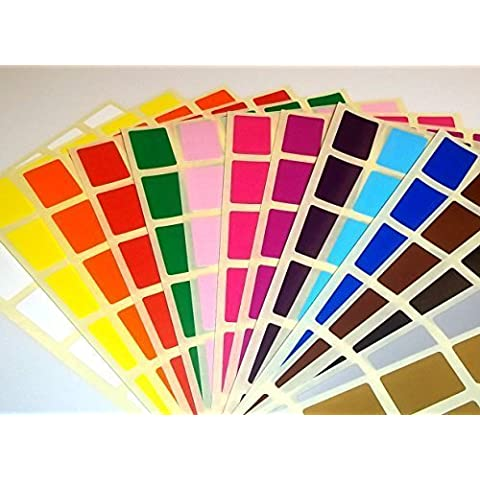 Láminas de Pegatinas Recatngulares de Colores 20 x 30 mm. - Pegatinas Para Implementar Códigos de Color - Audioprint Ltd. - 20 x 30mm, Oro