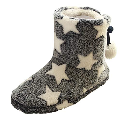 Mymyguoe Frauen Innenstiefel Ball Baumwolle Pantoffeln Plüsch Wärme Weiche Home Rutschfeste Slippers Übergrößen Schneestiefel Mittlere Freizeitschuhe Wildleder verdicken warme Schneestiefelette