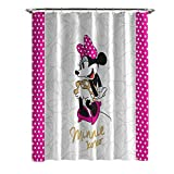 Disney Duschvorhang mit Mickey Maus und Minnie Maus, 177,8 x 182,9 cm, aus Stoff White Dots Shower Curtain