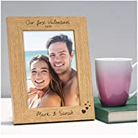 "Our First Valentines PERSONALISED Engraved Photo Frame Gifts Valentines Day - Special Gift for Couples, Husband, Wife, Boyfriend, Girlfriend - 6"" x 4"" and 5"" x 7"" Photo Frames"