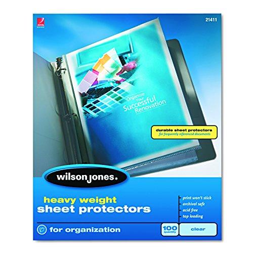 Wilson Jones W21410 Schutzfolie, schwer, Top-Loading, transparent, 50 Blatt durchsichtig 100/Box farblos Non-stick Finish