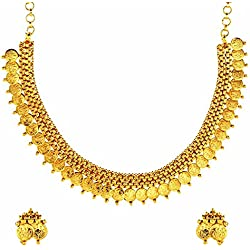 The jewelbox lakshmi gold coin temple antique traditonal necklace earrings Set for Women