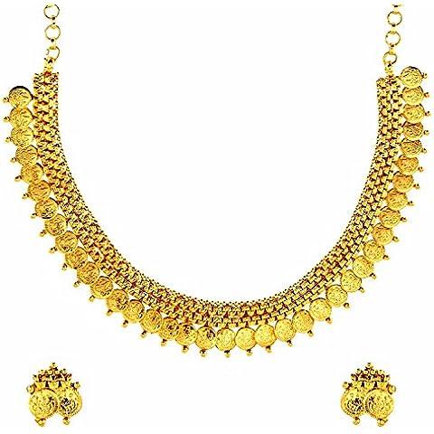 El joyero de antigua moneda Lakshmi portabotellas collar del templo de oro y pendientes