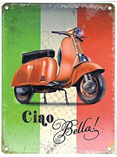 plaque-metal-20x30cm-scooter-vespa-italie-ciao-bella