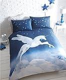 Unicorn Double Duvet Cover and 2 Pillowcase Bed Set, Polycotton, Blue