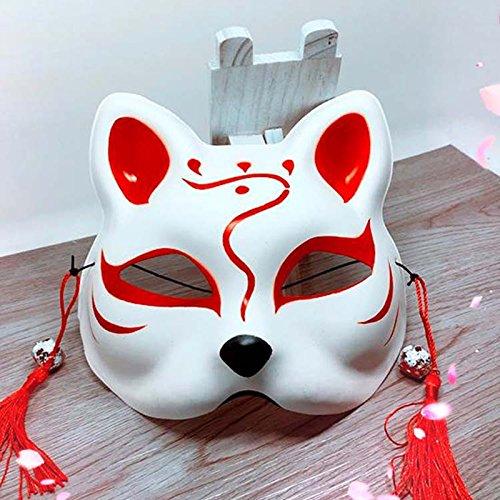 Zantec Japanische Fuchs Halbmaske mit Quasten und Kleinen Glocken Cosplay Maske für Masquerades Festival Kostüm Party (Bane Halloween Hund Kostüm)