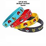 By Channeltoys - Anteil 4pcs Armband Pokemon - das blaue gelbe schwarze Rot - Pikachu Blastoise Venusar - Silikon - Channeltoys