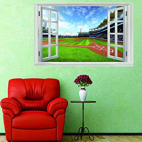 Removable 3D View Window Wall Stickers Football Field Art Mural Paper Waterproof Diy Office Home Decoration Vinyl Decal Wallpaper