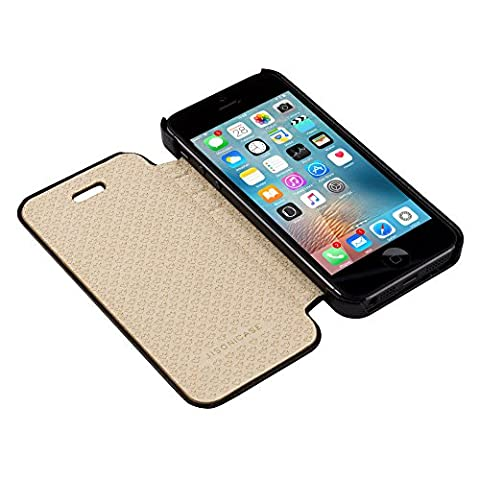 Jisoncase Handmade Magnetic Apple iPhone 5 5S Newest iPhone SE Leather Cases and Covers Side Book Folio Flip Design Phone Shell Holsters Skin With Fully Protective For iPhone SE 5S 5 Black Color JS-IP5-03H10